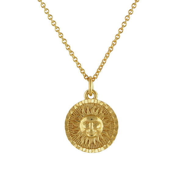 Gold vermeil sun coin disk medallion necklace
