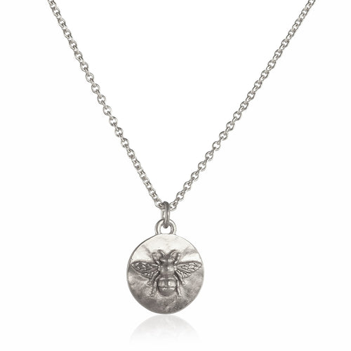 Tiny Silver Bee Coin Necklace