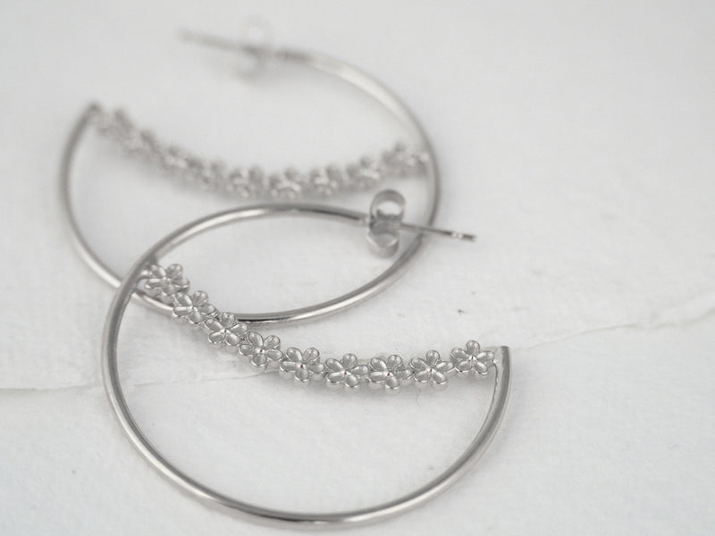 Silver Garland Flower Hoop Maxi Earrings