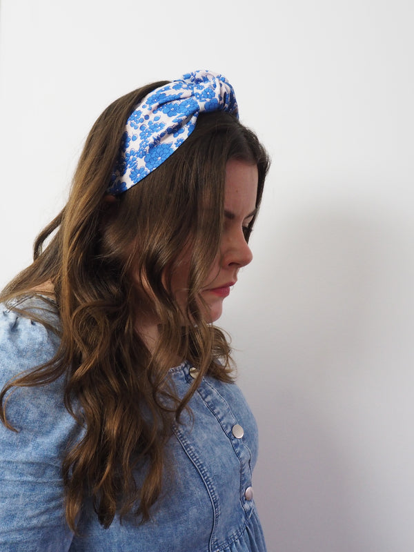 Vintage Blue Flowers Wide Knot Headband