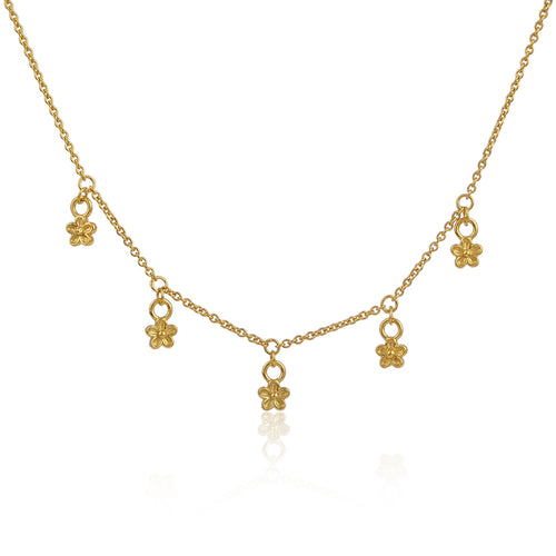 Gold Vermeil Blossom Flower Dangle Necklace