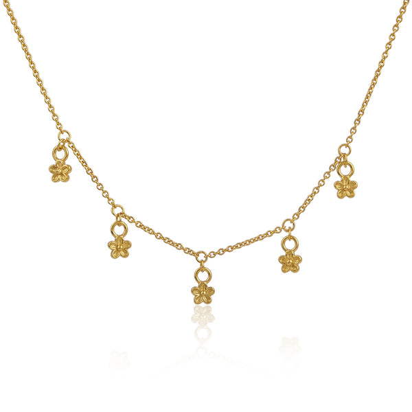 Gold vermeil tiny flower daisy chain necklace