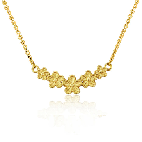 Gold vermeil tiny flower bar necklace