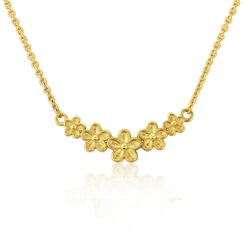 Gold vermeil small flower bar necklace