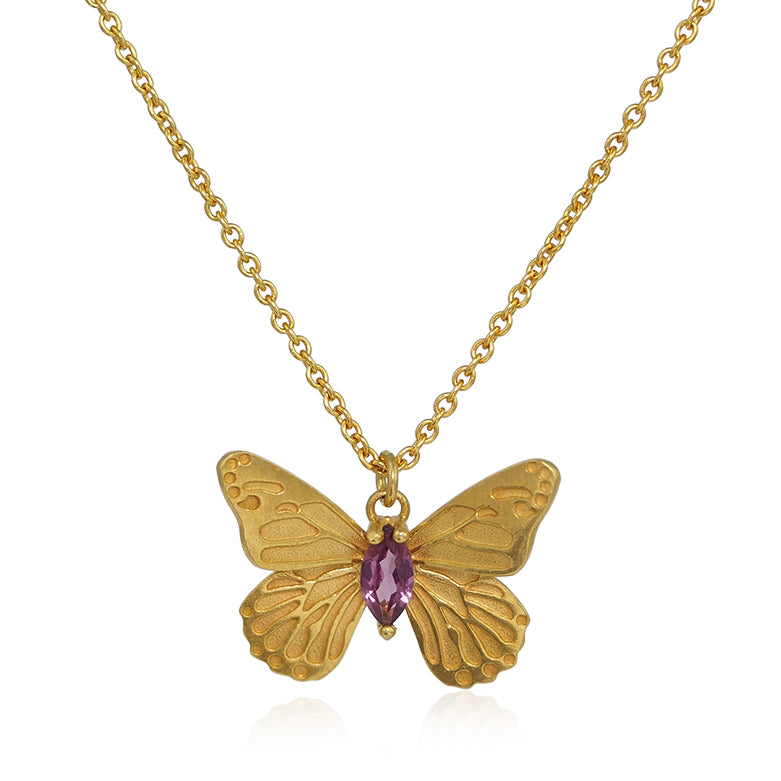 gold butterfly necklace with pink tourmaline