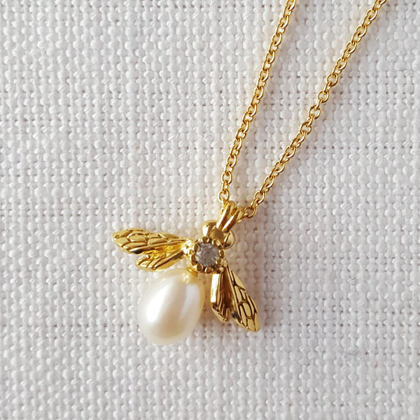 Gold Vermeil Mini Pearl Bumblebee necklace pendant with white sapphire gemstone