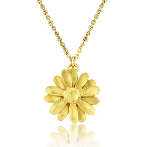 Gold big Daisy Pendant Necklace