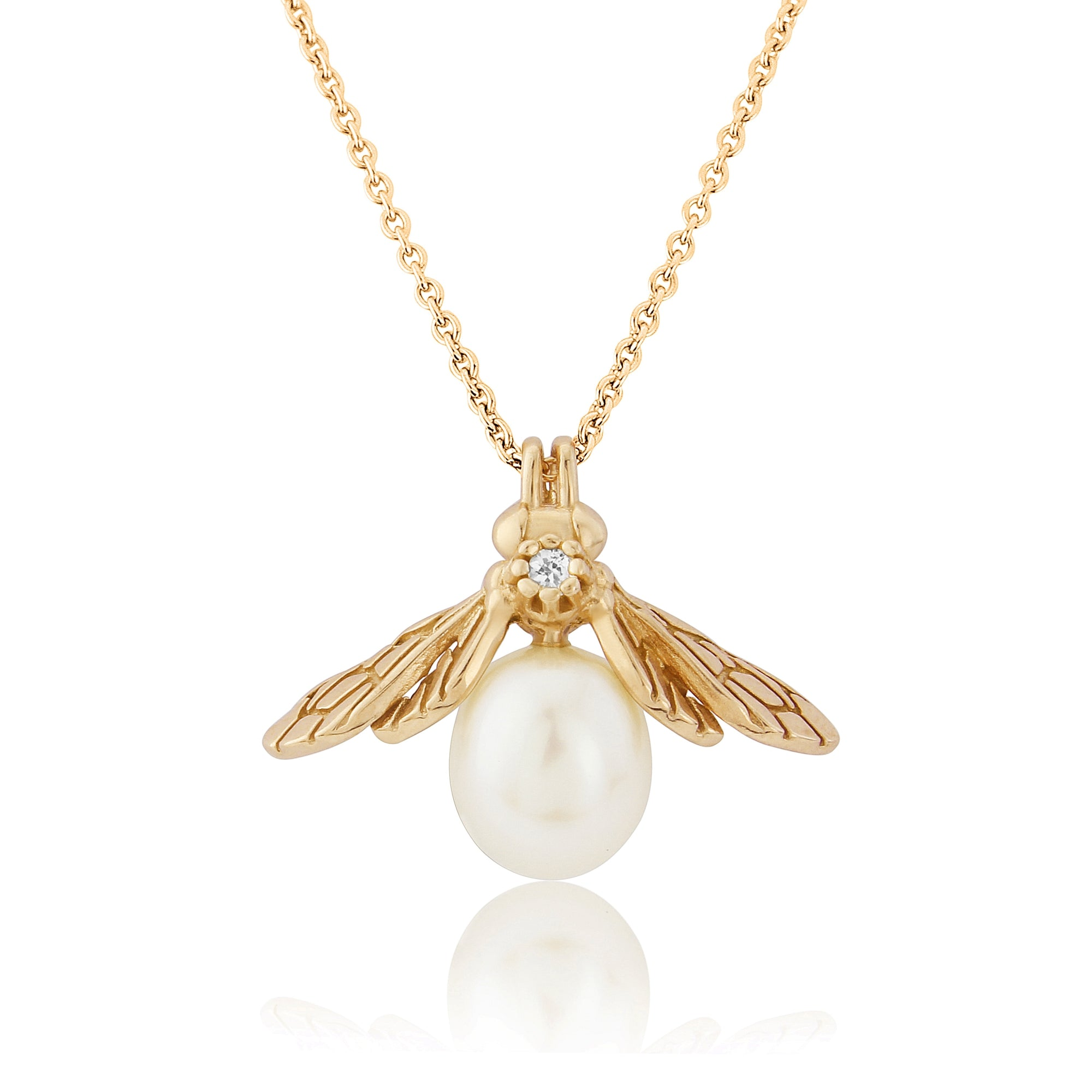 Gold pearl bee necklace rachel whitehead jewellery gold vermeil large pearl bee pendant mozeypictures Choice Image