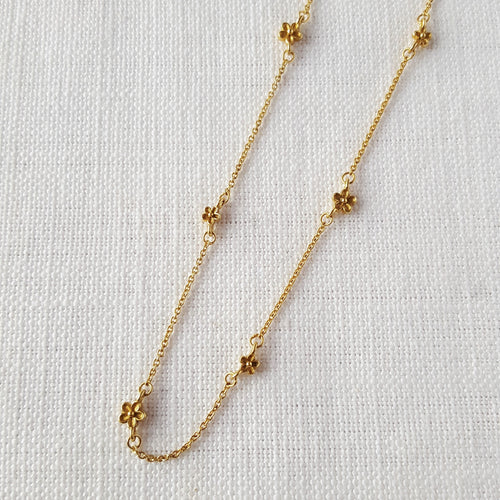 Gold Blossom Flower Bobble Necklace