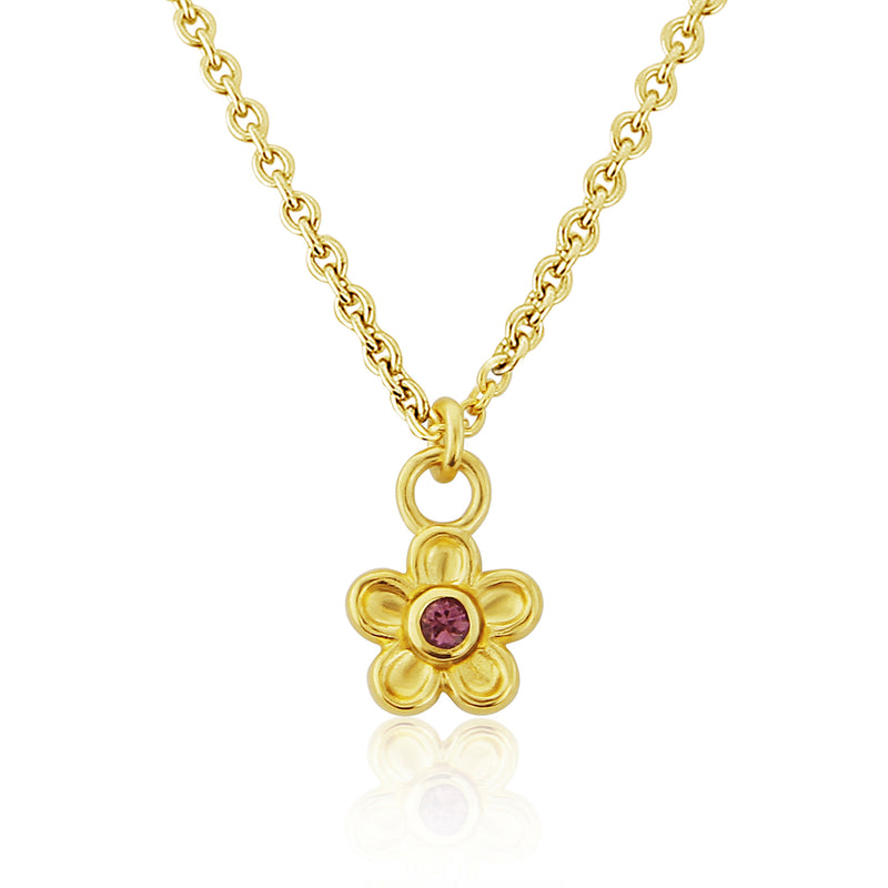 Gold Blossom Flower Pendant Necklace