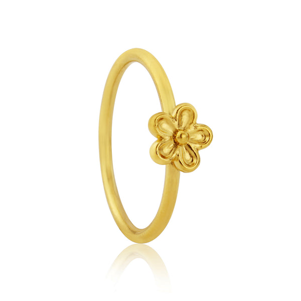 Gold vermeil small single flower stacking ring