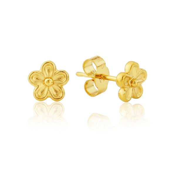 Gold Single Blossom Flower Stud Earrings