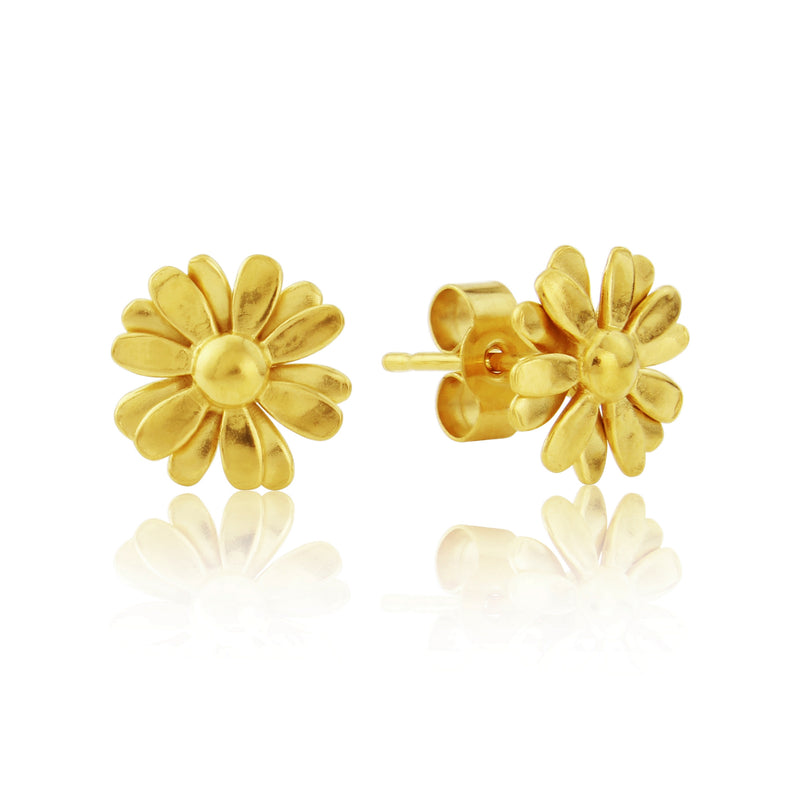 Gold Small Daisy flower Stud Earrings