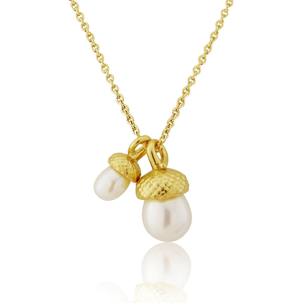 Gold vermeil double acorn necklace with freshwater cultured pearl acorns