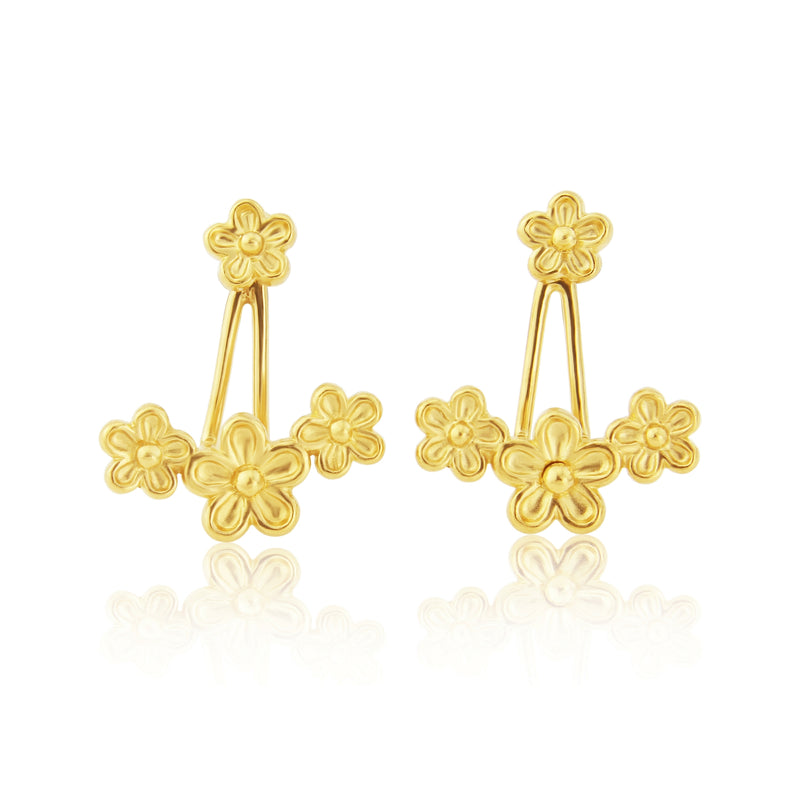 Gold Flower Earring Jackets
