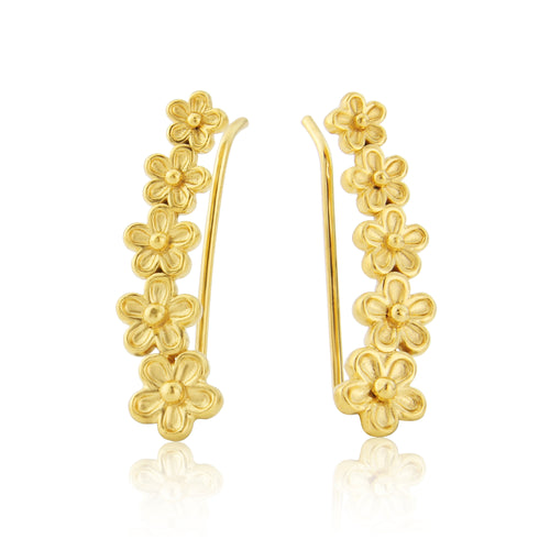 Gold Garland Flower Ear Climber Earrings