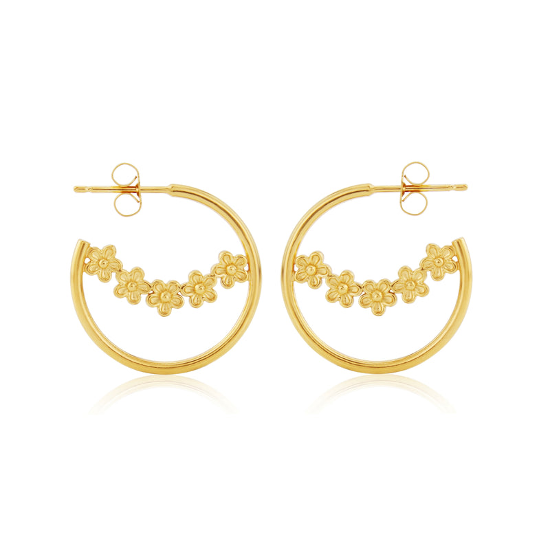 Gold Flower Hoop Earrings
