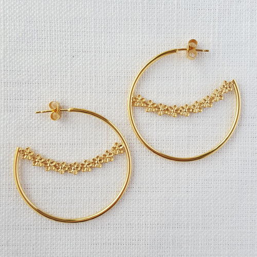 Gold Large Garland Flower Hoop Earrings