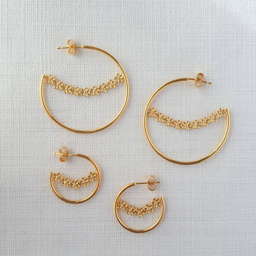 Gold Flower Garland Large Hoop Earrings