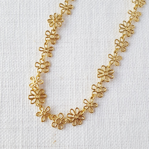 Gold Flower Doodle Necklace