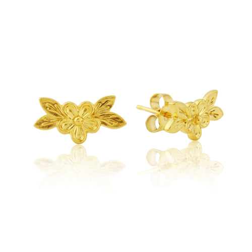 Yellow Gold Posy Flower Earring Studs