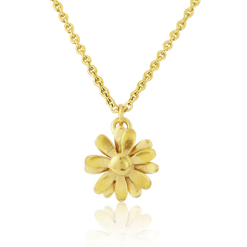 Gold Small Daisy Pendant Necklace