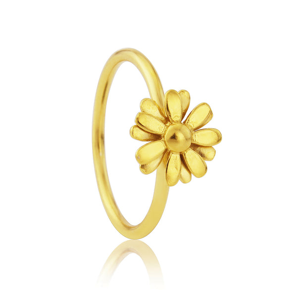 Gold Small Daisy Stacking Ring