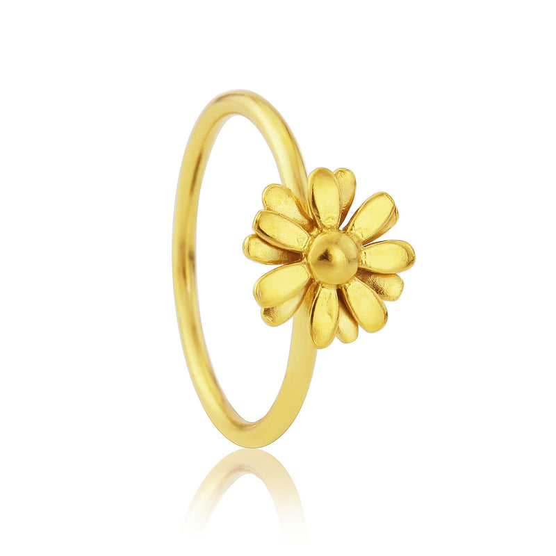 Gold vermeil small daisy flower stacking ring
