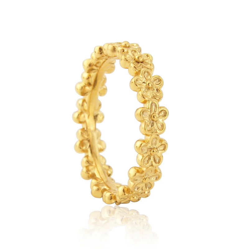 Gold vermeil flower eternity ring for stacking