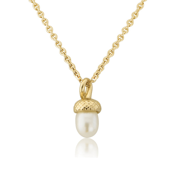 Gold Small Pearl Acorn Pendant Necklace