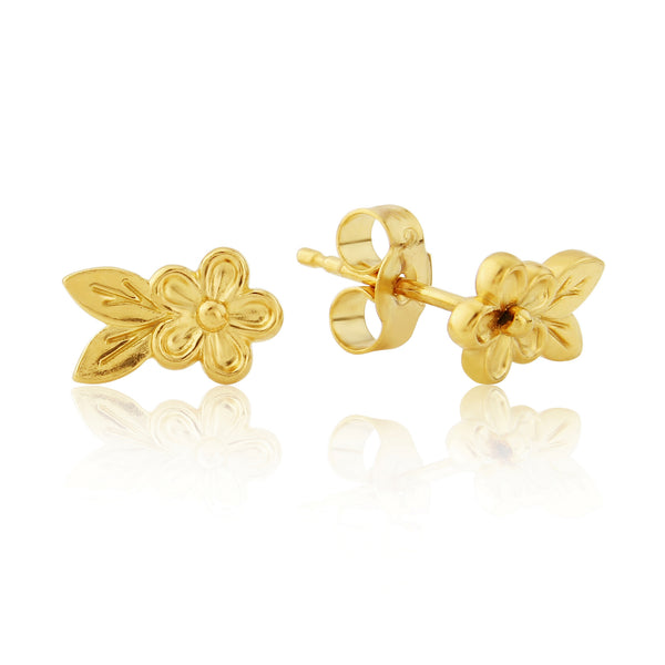 Gold Posy Flower and Leaf Stud Earrings