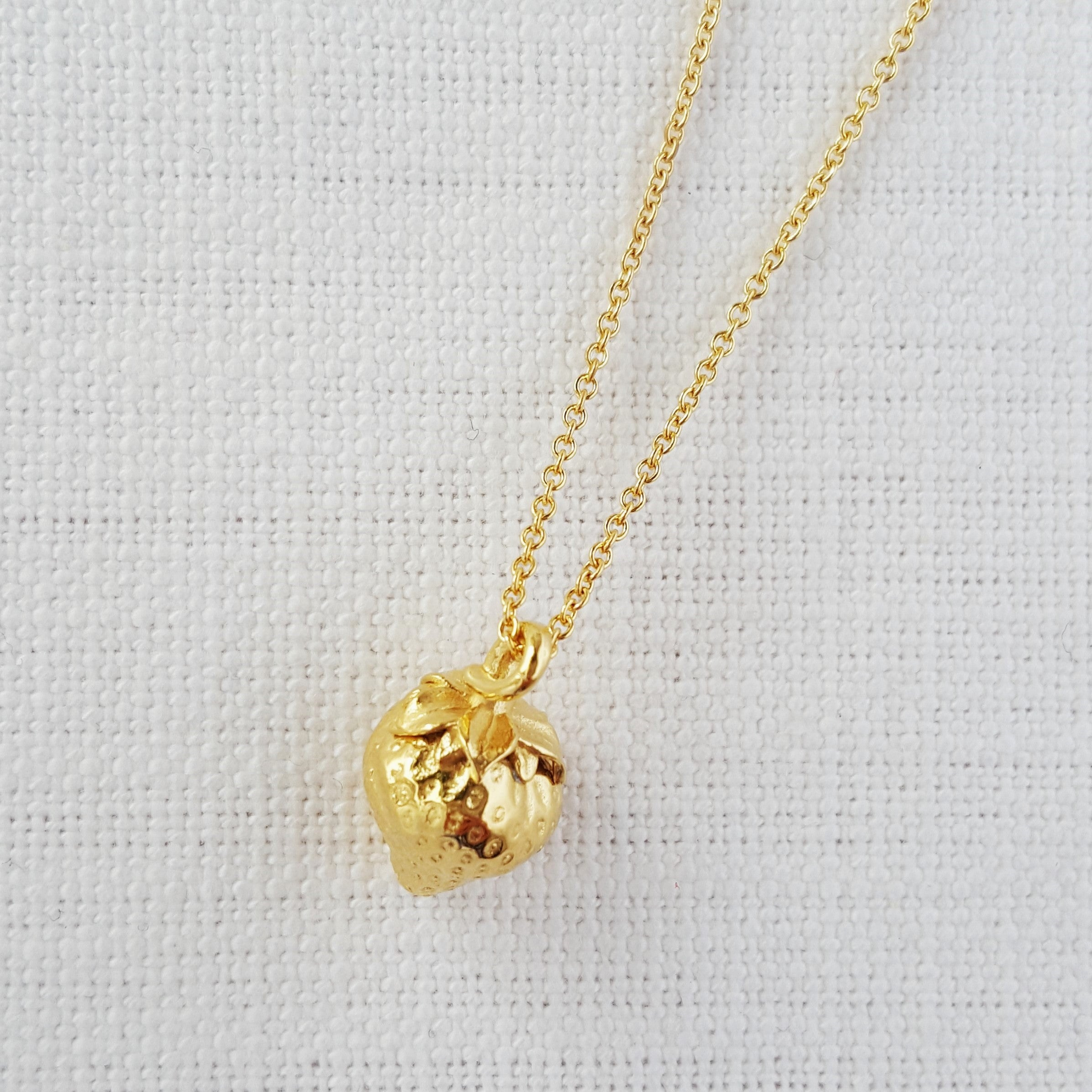 Gold Strawberry necklace Pendant