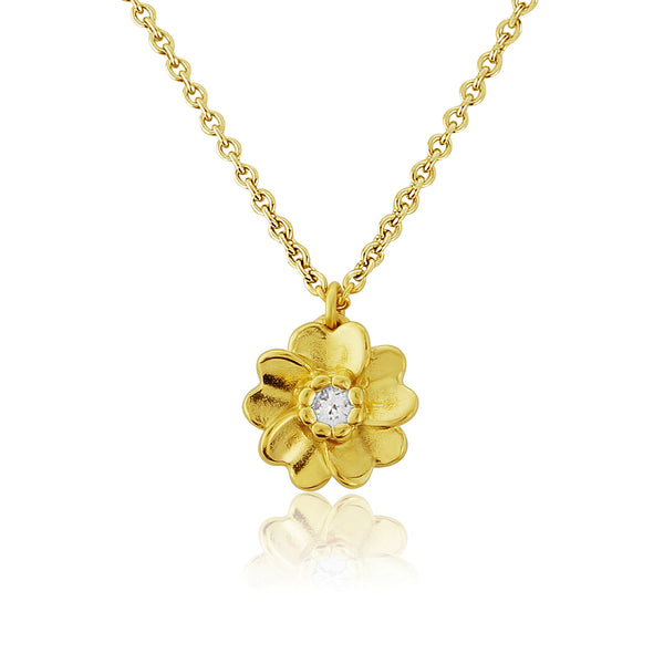 Gold Wild Rose flower with white sapphire Pendant Necklace
