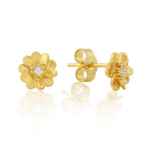 Gold Wild Rose stud earrings with white sapphire gemstone