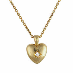 Gold Vermeil Star Set Heart Necklace with white sapphire gemstone