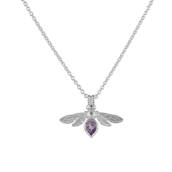 Silver Mini Gemstone Bee with Light Amethyst