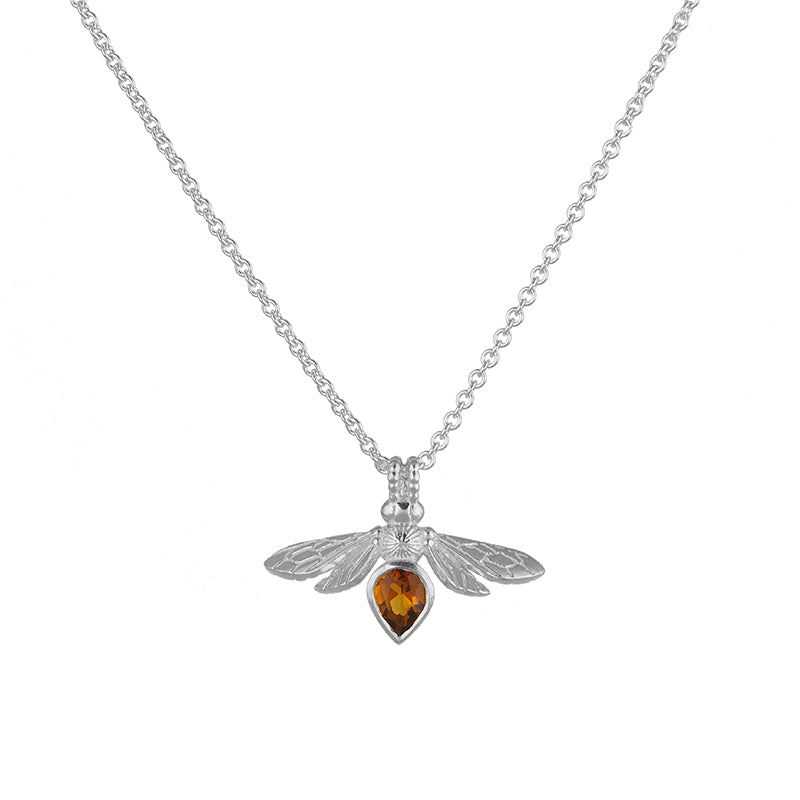 Silver Mini Gemstone Bee with Madeira Citrine