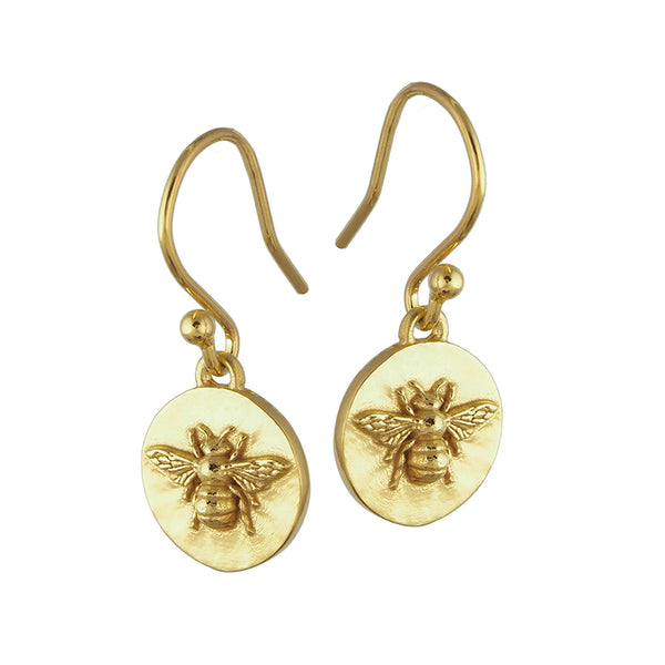 gold vermeil bee coin drop earrings with shepherds hook fixing