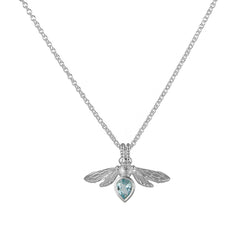 Silver Mini Gemstone Bee with Sky Blue Topaz