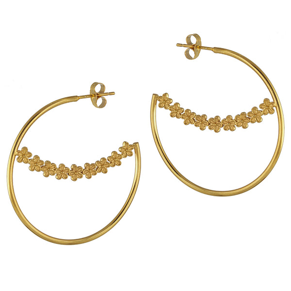 Maxi Garland Flower Hoops in Gold Vermeil