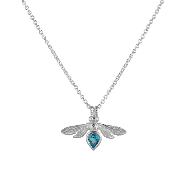 Silver Mini Gemstone Bee with Swiss Blue Topaz