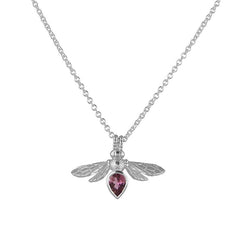 sterling silver bumblebee bee necklace pendant with pear shaped pink tourmaline