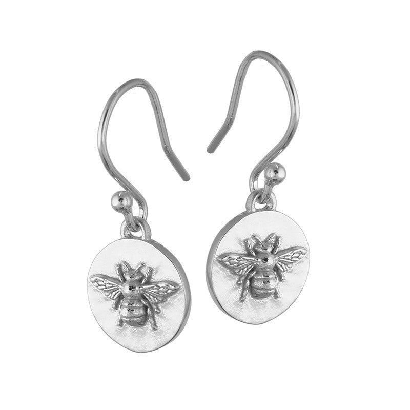 Sterling Silver Basking Bee Coin Earrings