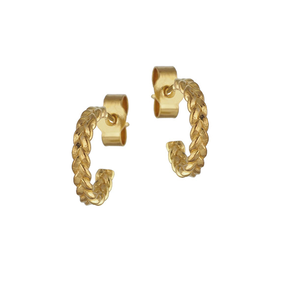 Gold Vermeil Skinny Plaited Hoop Earrings