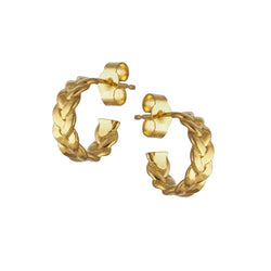 Yellow Gold Vermeil Plaited Hoop Earrings