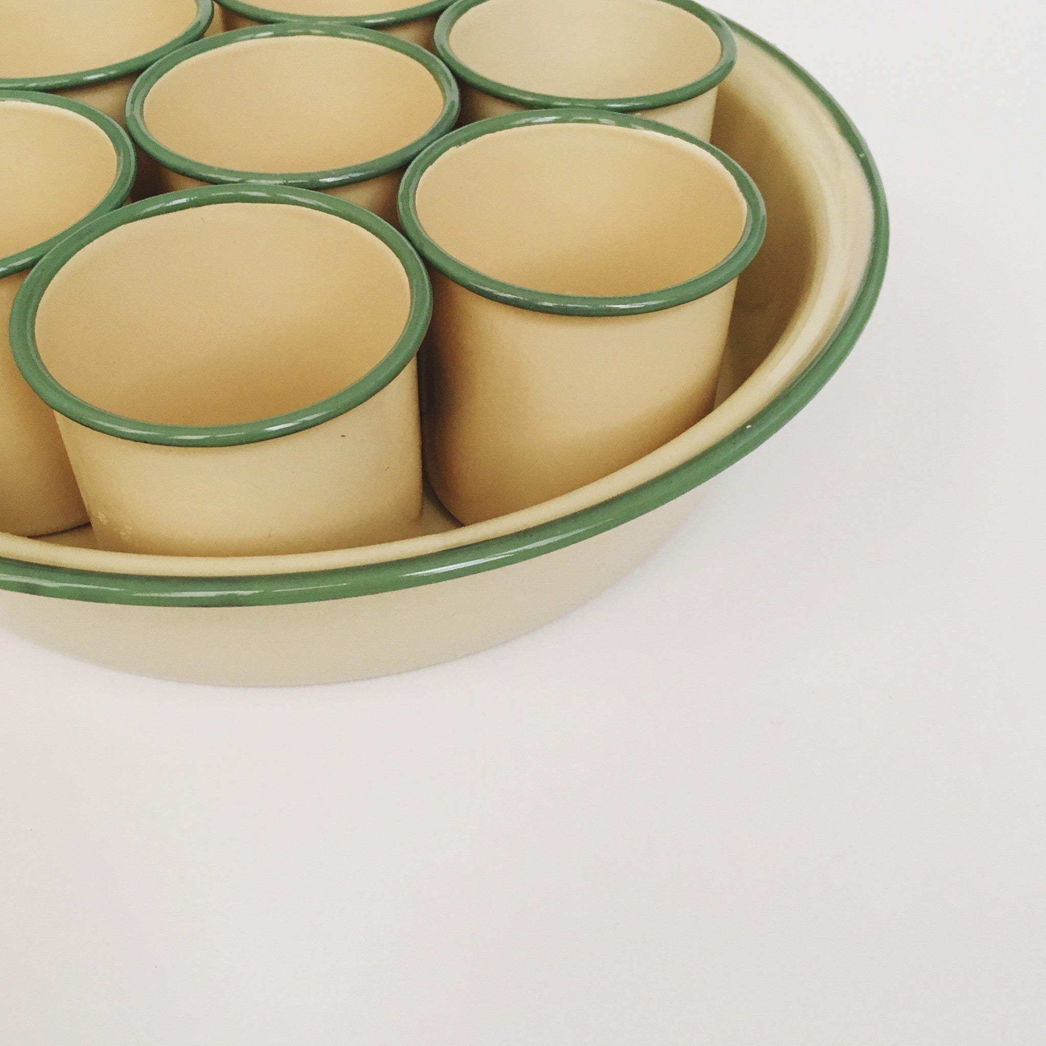 Ivory/Green Enamel Cup Tray Set