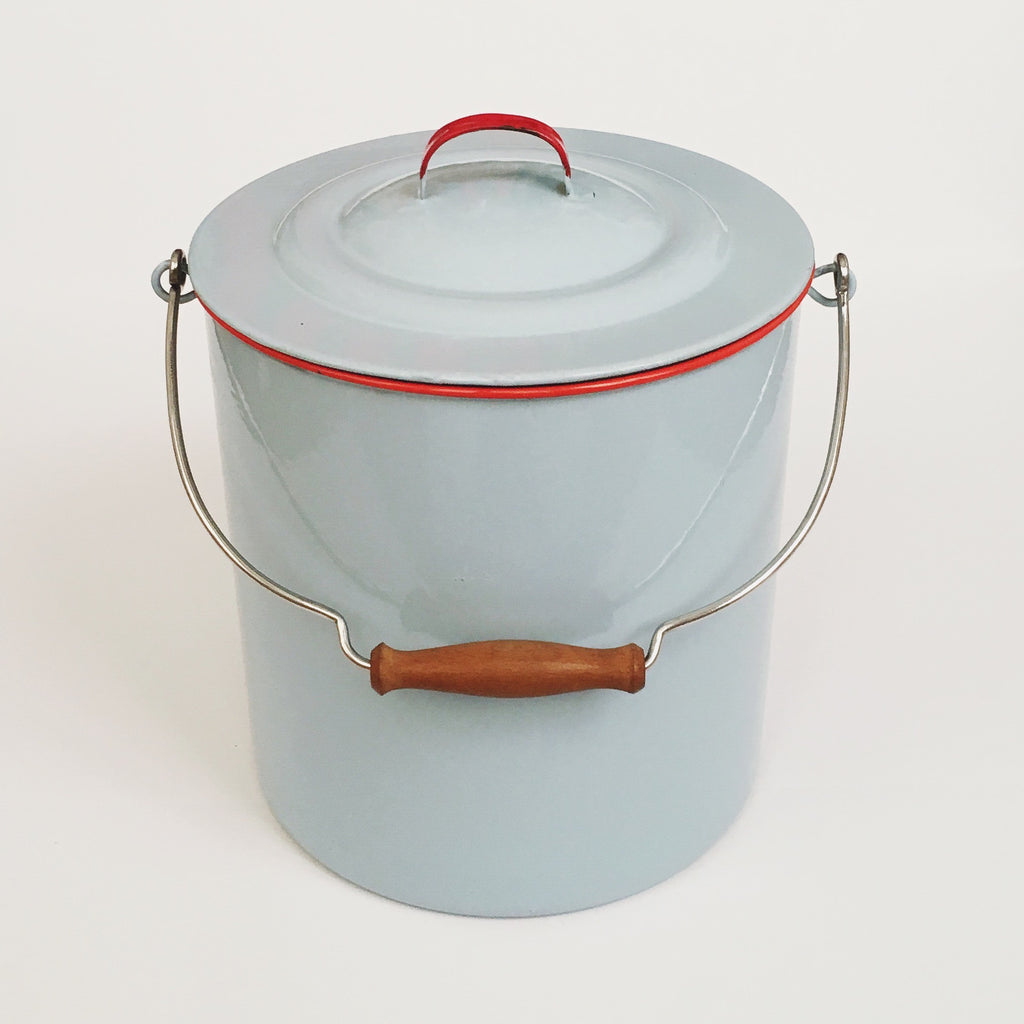 Baby Blue/Red Enamel Bucket
