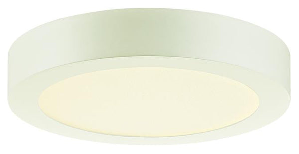 Dimmable 14W Round LED Indoor Flush Mount Ceiling Fixture, White Finish with Frosted Polycarbonate Panel - Lighting Getz