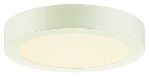 Dimmable 14W Round LED Indoor Flush Mount Ceiling Fixture, White Finish with Frosted Polycarbonate Panel