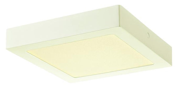 Dimmable 14W Square LED Indoor Flush Mount Ceiling Fixture, White Finish with Frosted Polycarbonate Panel - Lighting Getz